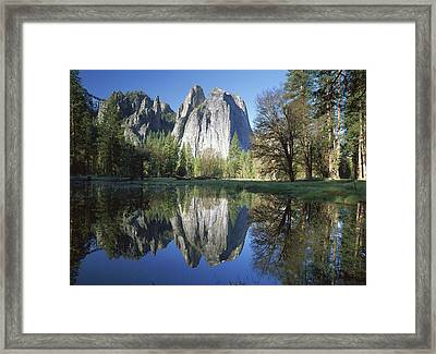 Cathedral Rock And The Merced River Framed Print