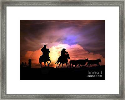 Cattle Drive Framed Print by Stephanie Laird