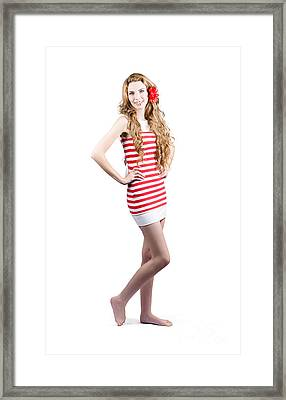 Catwalk Beauty Posing In Retro Fashion And Makeup Framed Print