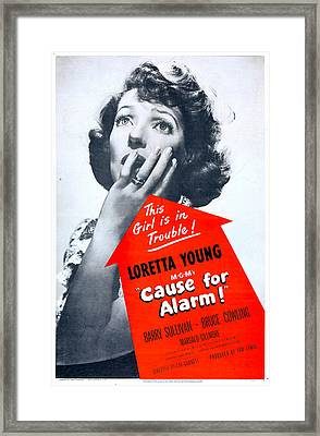 Cause For Alarm, Us Poster, Loretta Framed Print