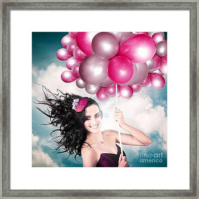 Celebration. Happy Fashion Woman Holding Balloons Framed Print by Jorgo Photography - Wall Art Gallery