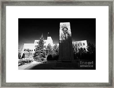 cenotaph war memorial in Saskatoon city hall Saskatchewan Canada Framed Print by Joe Fox
