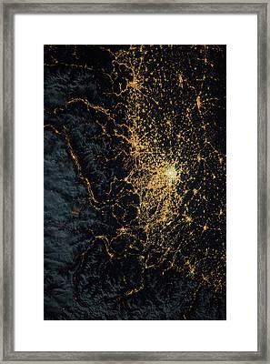 Central Europe At Night Framed Print by Nasa