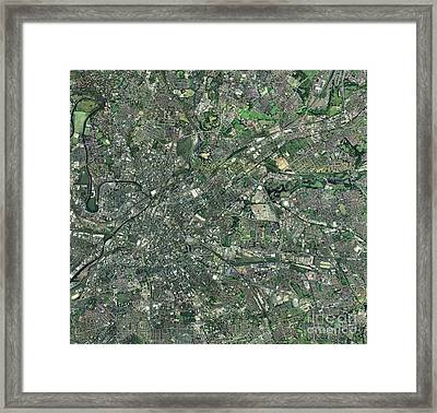 Central Manchester, Aerial View Framed Print by Getmapping plc