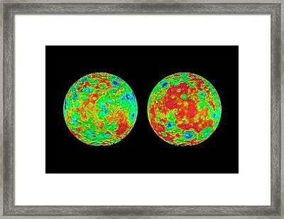 Ceres Topography Framed Print by Nasa/jpl-caltech/ucla/mps/dlr/ida