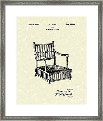Chair 1932 Patent Art Framed Print