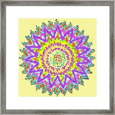 Chakra Energy  Mandala Ancient Healing Meditation Tool Stained Glass Pixels  Live Spinning Wheel  Framed Print by Navin Joshi