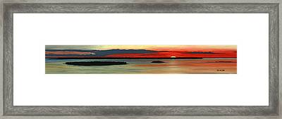 Framed Print featuring the pastel Chambers Island Sunset II by George Burr