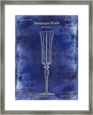 Champagne Flute Patent Drawing Blue Framed Print by Jon Neidert
