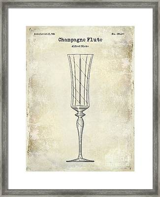 Champagne Flute Patent Drawing Framed Print