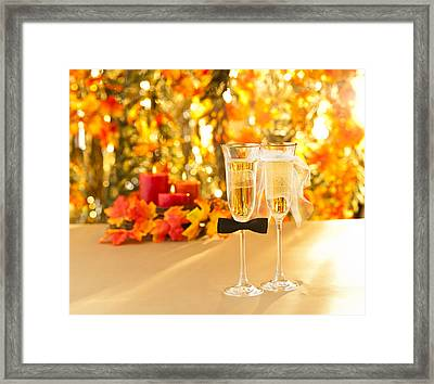Champagne Glasses With Conceptual Heterosexual Decoration  Framed Print by Ulrich Schade