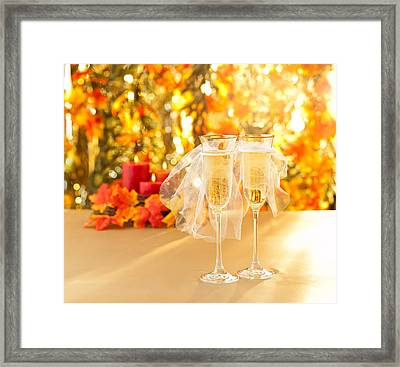 Champagne Glasses With Conceptual Same Sex Decoration  Framed Print by Ulrich Schade