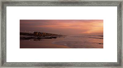 Changing Room Huts On The Beach Framed Print by Panoramic Images