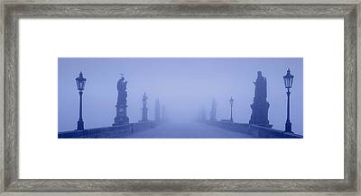 Charles Bridge In Fog, Prague, Czech Framed Print by Panoramic Images