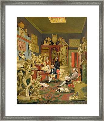 Charles Townley And His Friends Framed Print by Johann Zoffany