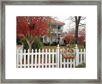 Charleston Historical Victorian Mansion - Charleston Autumn Fall Trees And White Picket Fence Framed Print by Kathy Fornal