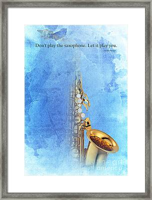 Charlie Parker Quote - Sax Framed Print by Pablo Franchi