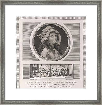 Charlotte Corday Framed Print by British Library