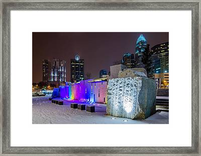 Charlotte Queen City Skyline Near Romare Bearden Park In Winter Snow Framed Print