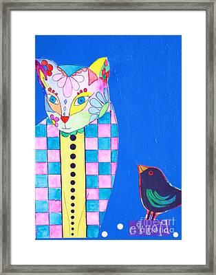 Checkered Cat Framed Print