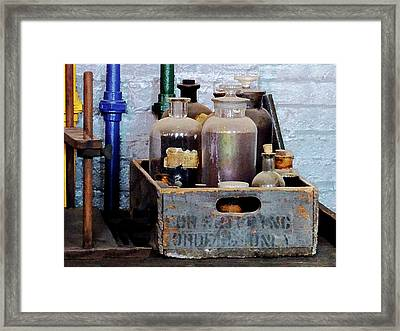 Chemist - Bottles Of Chemicals In A Wooden Box Framed Print by Susan Savad