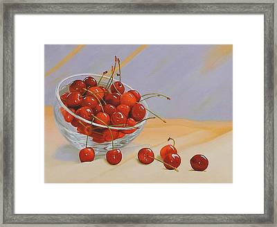 Cherries Bowl Framed Print by Lepercq Veronique