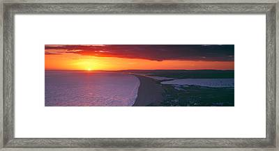 Chesil Beach At Sunset, Portland Framed Print by Panoramic Images