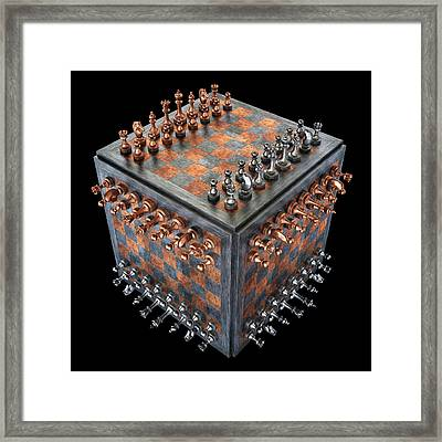 Chess Board In A Cube Shape Framed Print by Ktsdesign