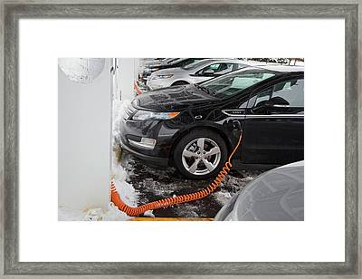 Chevrolet Volt Electric Car Charging Framed Print by Jim West