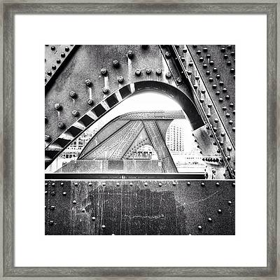 Chicago Bridge In Black And White Framed Print by Paul Velgos