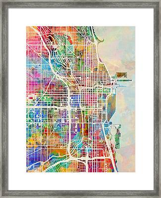 Chicago City Street Map Framed Print by Michael Tompsett