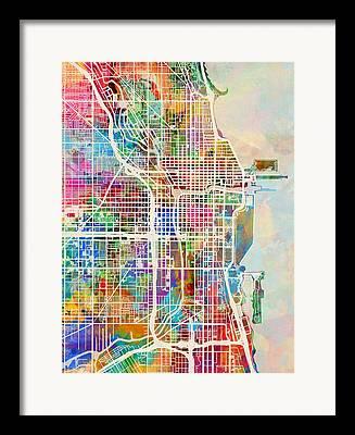 Usa City Map Framed Prints