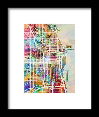 Watercolor Map Framed Prints