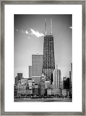 Chicago Hancock Building Black And White Picture Framed Print by Paul Velgos