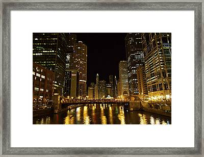 Chicago Nightscape Framed Print by John Babis