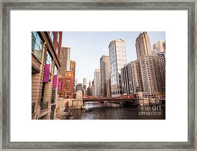 Chicago River Skyline At Lasalle Street Bridge Framed Print by Paul Velgos