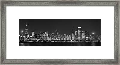 Chicago Skyline At Night Black And White Panoramic Framed Print