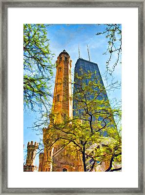 Chicago Water And Hancock Towers Framed Print