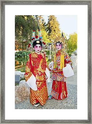 Children Dressed In Full Traditional Chinese Opera Costumes. Framed Print