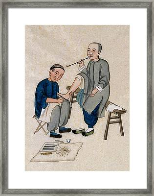 Chinese Foot Massage, 1890s Framed Print