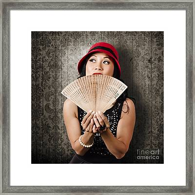 Chinese Girl Fanning Herself With Asian Hand Fan Framed Print