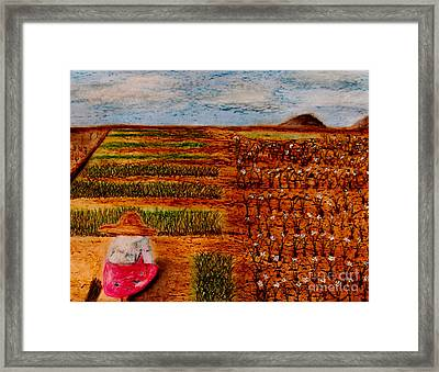 Framed Print featuring the painting Chive Harvest by Ayasha Loya