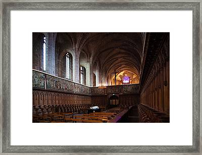 Choir Stalls At Abbatiale Saint-robert Framed Print by Panoramic Images
