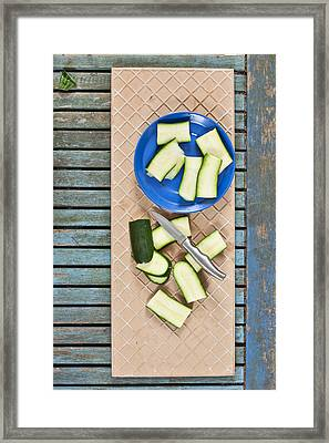 Chopped Courgette Framed Print