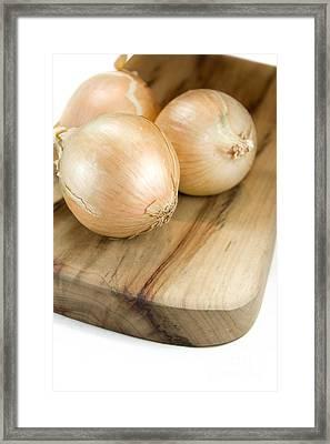 Chopping Board Onions Framed Print by Jorgo Photography - Wall Art Gallery