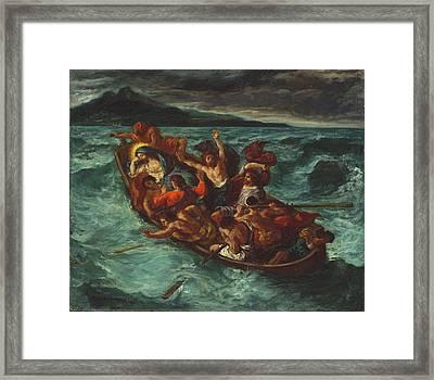 Christ Asleep During The Tempest Framed Print by Eugene Delacroix