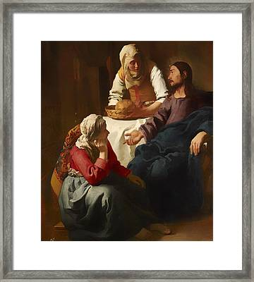 Christ In The House Of Martha And Mary Framed Print by Mountain Dreams