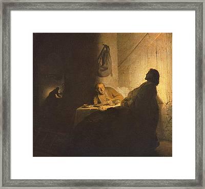 Jesus Christ Road To Emmaus Framed Print