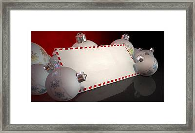 Christmas Baubles With Seasons Greetings Framed Print by Allan Swart