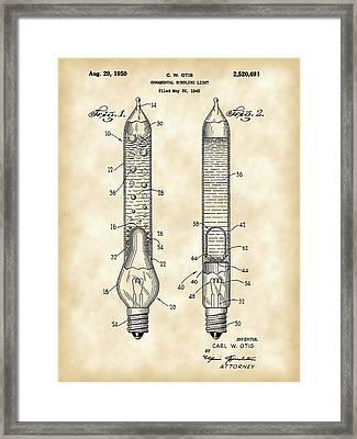 Christmas Bubbling Light Bulb Patent 1945 - Vintage Framed Print